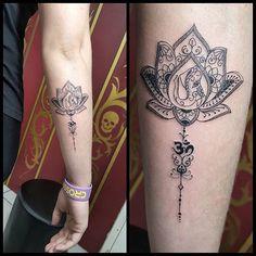 Flor de lotus personalizada by @renetattoo #sevenstarstattoo #brasiltattoo…