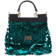 Pre-owned Dolce & Gabbana Lizard-Trimmed Sequined Mini Miss Sicily Bag (€450) ❤ liked on Polyvore featuring bags, handbags, green, hand bags, green purse, top handle purse, mini hand bags and green handbags