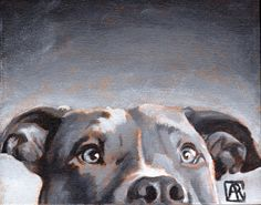 Pitbull Art Print Dog Art Dog Print Olive of by AbbyRoseStudios