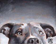Pitbull Art Print Dog Art Dog Print Olive of by AbbyRoseStudios