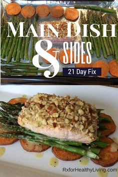 Easy 21 Day Fix Dinner - Salmon, Sweet Potato, Asparagus - 1 Red, 1 Yellow, 1 Green
