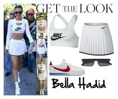"""Bella Hadid Arrives at 2017 French Open in Paris,France June.10.2017"" by valenlss ❤ liked on Polyvore featuring NIKE"
