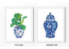 Chinoiserie Ginger Jar & Fig Poster PRINTABLE FILE - set of 2 prints, Ming dynasty, chinese vase, kitchen art, blue white, chinoiserie art