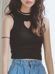 Black Heart Cut Out Front Sleeveless Tight Crop Top