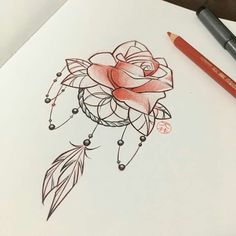Ideas Tattoo Ideas Drawings Sketches Dream Catchers For 2019 Flower Tattoo Back, Flower Tattoos, Flower Sketches, Drawing Sketches, Dream Catcher Sketch, Dream Catchers, Doodle Drawings, Cute Drawings, Beautiful Rose Drawing
