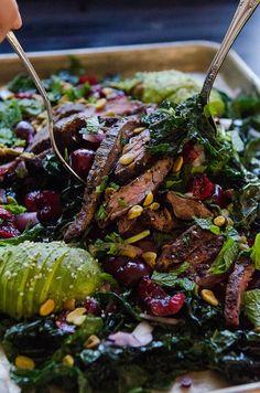 Massaged Kale Salad With Cherries, Pistachios & Grilled Flank Steak by @SoLetsHangOut // www.soletshangout.com