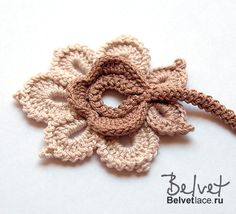 Crochet Flowers Design Ravelry: RUS Flower from Bolero Cappuccino pattern by Victoria Belvet - Irish Crochet Patterns, Crochet Motifs, Freeform Crochet, Crochet Art, Thread Crochet, Crochet Designs, Crochet Crafts, Crochet Projects, Crochet Stitches