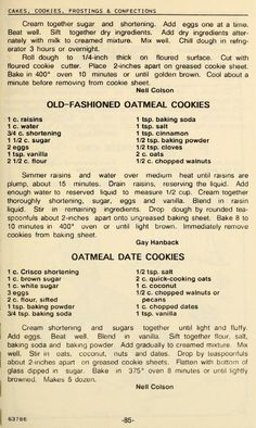 Retro Recipes, Old Recipes, Vintage Recipes, Cookbook Recipes, Sweet Recipes, Recipies, Cookie Brownie Bars, Cookie Desserts, Cookie Recipes