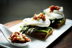 feasting at home: Asparagus and Poached Egg on Toast with Warm Bacon Vinaigrette