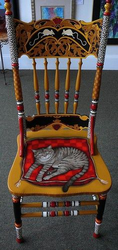 Vintage Furniture Painted Furniture Mixed Media - Painted Cat Chair by Andrea Ellwood - Painted Cat Chair Mixed Media by Andrea Ellwood Whimsical Painted Furniture, Hand Painted Chairs, Hand Painted Furniture, Funky Furniture, Paint Furniture, Repurposed Furniture, Furniture Makeover, Chair Makeover, Furniture Covers