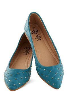 Luxe the Two of Us Flat in Lake - Blue, Quilted, Studs, Flat, Good, Faux Leather, Solid, Work, Variation