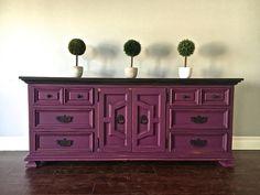 Shabby Chic Plum & Black 9 Drawer Dresser / Sideboard - $450 - SOLD