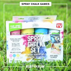 How to use spray chalk to keep your kids busy and entertained all summer long! These fun chalk spray paint ideas are easy to play and to clean up! Chalk Spray Paint, Spray Paint Cans, Toddler Learning Activities, Fun Activities, Kids Painting Projects, Kids Lying, Outdoor Summer Activities, Lawn Party, Best Cleaning Products