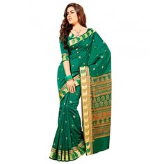 Traditional Ambi Design Green and Golden Classic Saree @  Rs. 2,340.00