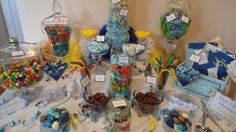 Beach themed baby shower candy bar