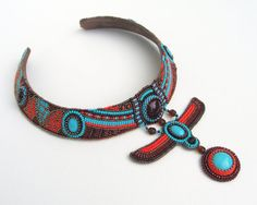 Beaded Egyptian inspired choker (includes winged scarab, lotus, sun god Ra disk)