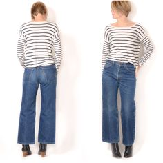 Vintage 1970s FLANNEL-LINED LEVI'S Jeans / 28x27 size 4 size 6 / Levi's Orange Tab Cropped Wide Leg Winter Jeans by ItinerantVintage on Etsy