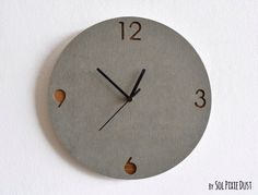 Concrete and Wood Circle Wall Clock - Modern Wall Clock by SolPixieDust on Etsy https://www.etsy.com/listing/192963521/concrete-and-wood-circle-wall-clock