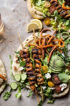 Chicken Shawarma Naan Salad with sweet potato fries - wrap it up or eat it with a fork, you'll love this middle eastern street food! At halfbakedharvest.com