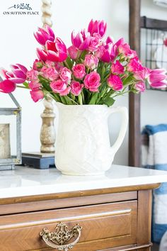 Tips & Tricks for arranging grocery store flowers. How to make a basic bouquet of grocery store flowers look great. Easy container ideas and a video!