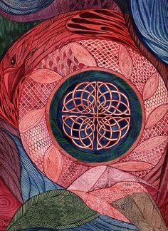 Raven Mandala by Jan Mandala Design, Mandala Pattern, Celtic Raven, Celtic Art, Mandala Drawing, Mandala Art, Fractal Art, Fractals, Backpiece Tattoo