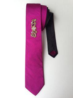 Magenta Silk Tie with Embellished Motif, Wedding Tie, Groom Tie, Mens Neck Wear, Mens Tie, Novelty Tie, Suit & Tie Accessory, Mens Accessory