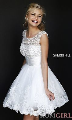 Short High Neck White Sherri Hill Dress at PromGirl.com...graduation dress?