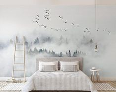 foggy mountain and birds wallpaper removable misty forest wall mural linving room bedroom wall poster Slef Adhesive Wallpaper My wallpaper is made of Polyester Fabric wallpaper that no glue and paste required when you install it and no tool required Decor Room, Bedroom Decor, Wall Decor, Home Decor, Wall Paper Bedroom, Bird Bedroom, Bedroom Murals, Bedroom Wall Texture, Bedroom Sets