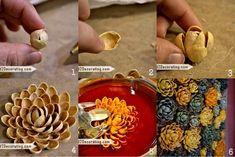 Decorative flowers from pistachio shells