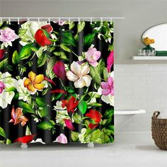 Colorful Shower Curtain, Flower Shower Curtain, Floral Shower Curtains, Shower Curtain Rings, Colorful Curtains, Rustic Curtains, Red Curtains, Pineapple Shower Curtain, Jungle Flowers