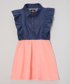 Look what I found on #zulily! Coral & Denim Ruffle Dress - Infant, Toddler & Girls by Dollhouse #zulilyfinds