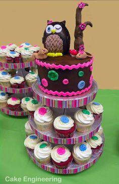 Cute owl cake and cupcake combo!