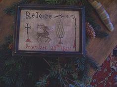 EARLY INSPIRED ~PRIMITIVE NAIVE ~1807 CHRISTMAS MOTIF SAMPLER~(LB) #NaivePrimitive #ThePrimitiveStitcher