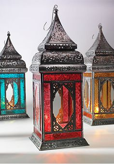 Red Large Moroccan Style Iron Lantern