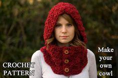 CROCHET patron cagoule Cowl, bouton cou, Crochet Hoodie Instant Download                                                                                                                                                                                 Plus