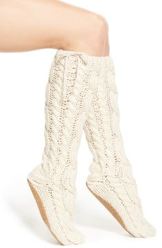 Lemon 'Arctic' Cable Knit Knee High Slippers