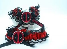 """Deadpool"" themed garter set. Wedding Garters, Garter Set, Deadpool, Wedding Ideas, Halloween, Wedding Ceremony Ideas, Spooky Halloween, Bridal Garters"