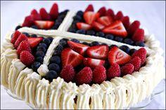 Norwegian flag Norwegian Flag, Raspberry, Strawberry, Flag Cake, Birthday Bash, Good Mood, Just Desserts, Waffles, Nom Nom