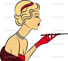 Chica de moda vintage con cañón de bits — Ilustración de stock #7564334