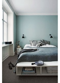 Interior Design Ideen bedroom-wall-design-bedroom-paint-ideas-mint-color The Home Improvement Contra Best Paint Colors, Bedroom Paint Colors, Gray Bedroom, Trendy Bedroom, Bedroom Decor, Gray Bedding, Wall Decor, Calm Bedroom, Simple Bedrooms