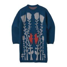 Knitwear – Fox in flowers long sweater blue