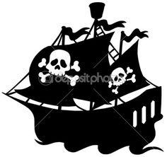 pirátská loď silueta — Stock Vektor © clairev #2259856