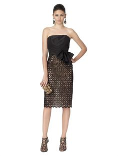 STRAPLESS DRESS WITH BOW TIE AT WAIST - Oscar de la Renta New Arrivals - The Latest Fashions by Oscar De La Renta - Oscar de la Renta
