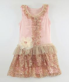 Look at this #zulilyfind! Peach & Champagne Sequin Ruffle Dress - Toddler & Girls #zulilyfinds