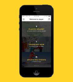 Tourism App – Home screen designed by Éric Le Tutour. Web Design, App Ui Design, User Interface Design, Website Design Layout, App Home Screen, Diy Screen Printing, Mobile Ui Design, Android, User Experience Design