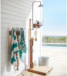 Outdoor Shower & Wall-Mount Shower Shelf