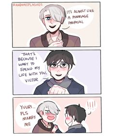 "randomsplashes: ""headcanon: victor totally wanted to propose to yuuri during that scene (ಠ◡ಠ) "" 