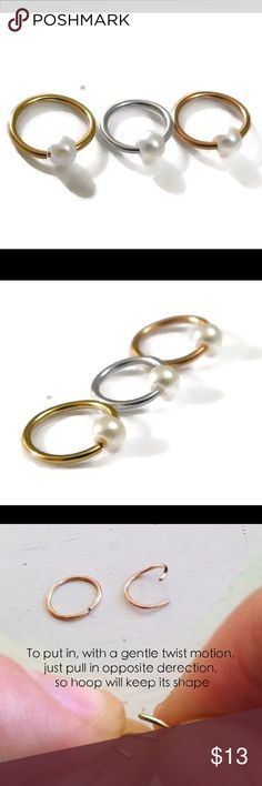 ❗️sale❗️Pearl Bead Captive Bead Ring Piercing Hoop A single CBR (captive bead ring) in your choice of either 925 Sterling silver, 14k rose or yellow gold filled. Great for most piercings such as Septum, eyebrow, nipple, navel/belly button, faith, helix, Tragus, pinna, auricle, etc., Available in 20, 18, or 16 gauge and in sizes 8 or 10 mm. nejd Jewelry Earrings