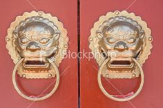 Traditional Chinese door knockers Royalty Free Stock Photo
