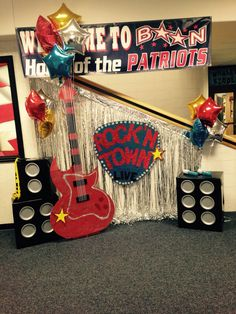 Boon Elementary Rock 'N Town Live Boosterthon decorations 2015